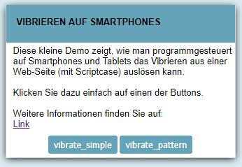 WebApp Vibrieren